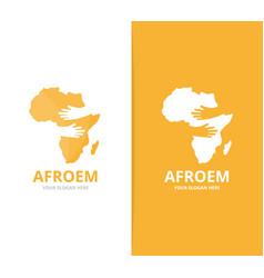 Africa and hands logo combination safari vector