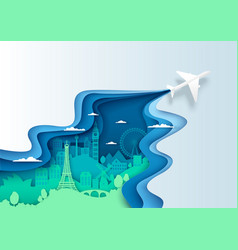 Air travel concept layered paper cut style vector