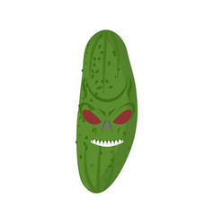 angry cucumber aggressive green vegetable vector image