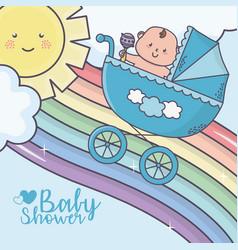 bashower cute little boy in pram rainbow vector image