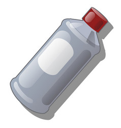 bottle of grey plastic with red cap isolated on vector image
