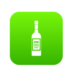 bottle of vodka icon digital green vector image
