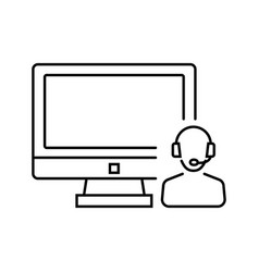 call center system administrator icon in thin vector image