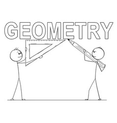 Cartoon of two men holding pencil and triangle vector