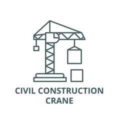 civil construction crane line icon civil vector image