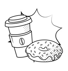 coffee cup and donut black and white vector image