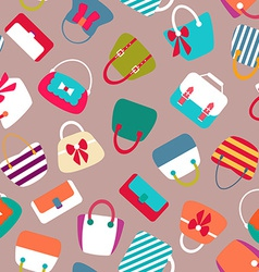 Collection of Retro Woman Bags Seamless Background vector image