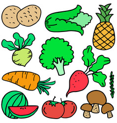 Collection stock of vegetable object doodles vector