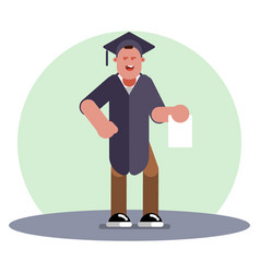 college girl graduation with diploma vector image