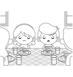Cute kids not want to eat vegetables coloring book vector