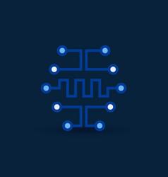 Cyberbrain icon digital circuit board vector