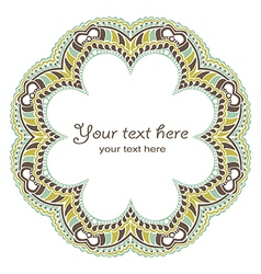 Decorative round frame in winter colors vector image