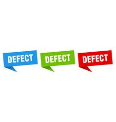 Defect banner sign defect speech bubble label set vector