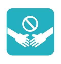 dont handshake contact line style icon vector image