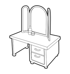 Dressing table with a mirror icon vector image
