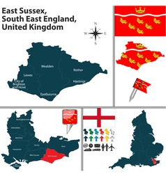 East sussex south east england vector