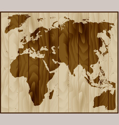 europe asia and africa map on wood background vector image