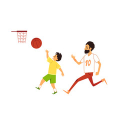 father and son playing basketball flat vector image