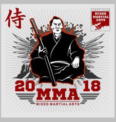 Fight club print with samurai and katana vector