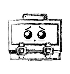 Figure kawaii cute surprised suitcase design vector