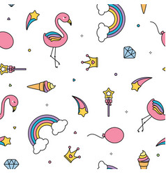 Flamingo rainbows and stars seamless pattern vector