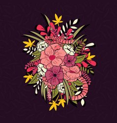 Floral jungle with snakes pattern vector