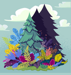 forest with firtree and plants vector image