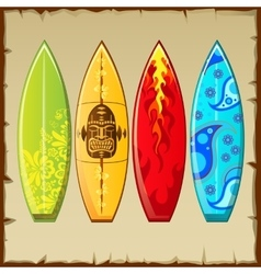 Four surfboards with different pattern vector