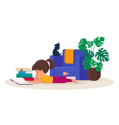 girl lying on floor reading a book vector image