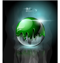 Green splattered sphere icon with sparks vector