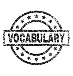 Grunge textured vocabulary stamp seal vector