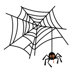 Halloween cute spider on web vector