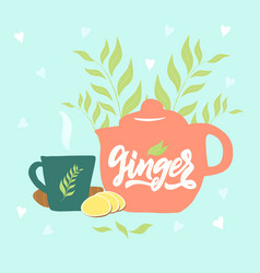 Hand draw teapot cup text ginger tea vapor leaves vector