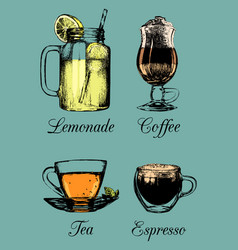 hand drawn soft drinks lemonade coffee tea vector image