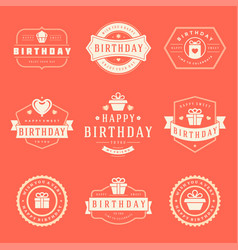 Happy birthday badges and labels design vector