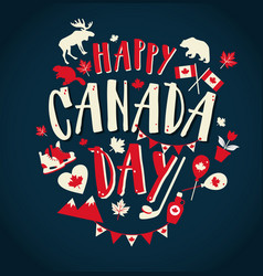 happy canada day with flat symbols vector image