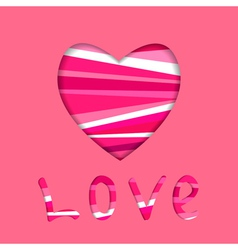 heart symbol cut in paper vector image