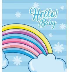 Hello baby card with cartoons vector