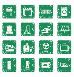 household appliances icons set grunge vector image