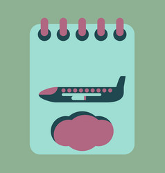 Icon in flat design for airport aircraft vector