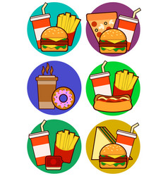 icons of fast food combos contains hot dog vector image