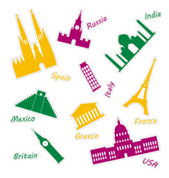 Icons of most popular world monuments colored set vector