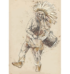 Indian Chief plays the drum and dance vector