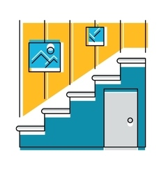 Interior hallway and stair logo or icon vector image
