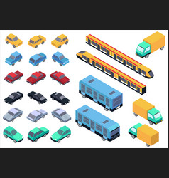 isometric car bus truck and train set vector image