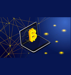 isometry bitcoin flies on monitor screen from vector image