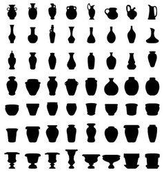 Jars bowls and vases vector