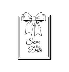 Label Ribbon Bow Wedding Invintation Template Save vector