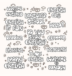 Learning english educational black and white vector