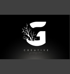 Letter g design logo with creative tree branch g vector